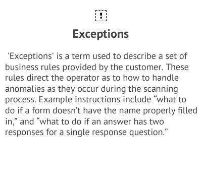 Exceptions - Data Collection Services