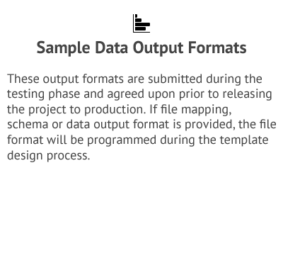 Sample Data Output Formats - Data Collection Services