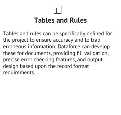 Tables and Rules - Data Collection Services